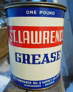 RARE 1949s VINTAGE ST LAWRENCE GREASE (1 LB) CAN - GANANOQUE, ON