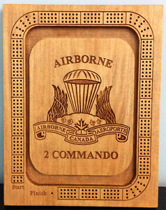 Airborne Commando inspired Cribbage Board carved into solid wood