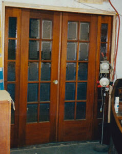 Pecan french doors / fits 5' opening