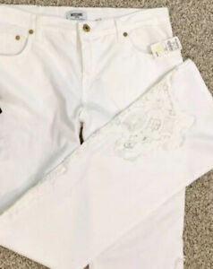 Moschino Italy women white jeans with lace  size 33