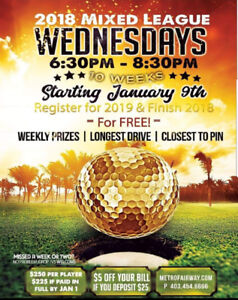 Indoor golf mixed league every Wednesday. Drop ins welcome