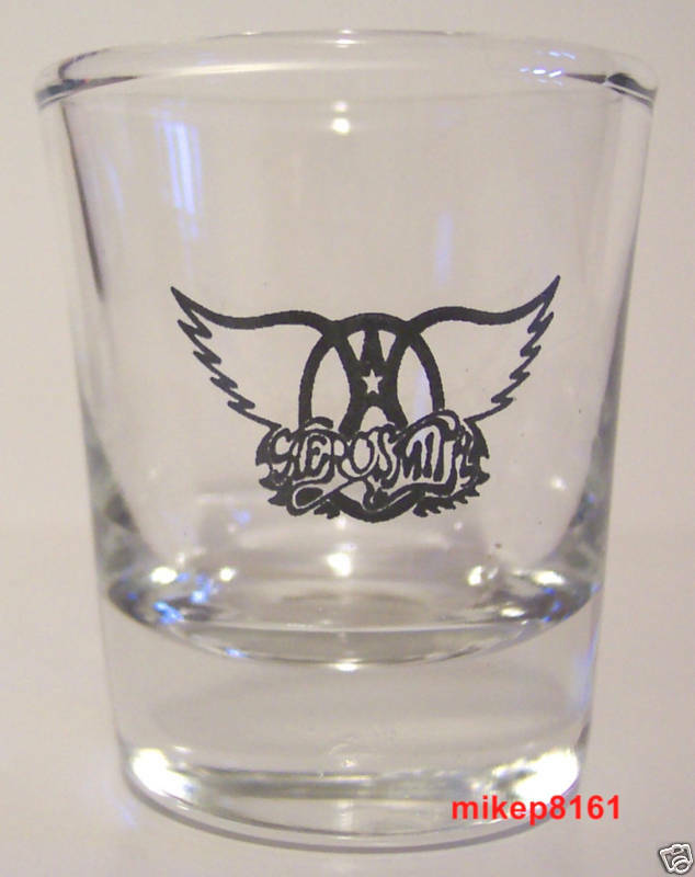 AERO*SMITH THE ROCK BAND LOGO ON A CLEAR SHOT GLASS