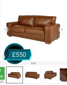MASSIVE CLEARANCE!! 3 Seater leather sofa. Tan. Was £800