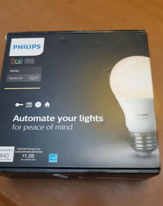 PHILIPS Hue White A19 Starter Kit (Compatible with Amazon Alexa,