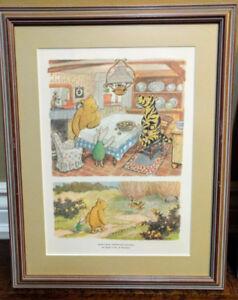 Winnie The Pooh Classic Watercolor Prints- Framed w Original Box