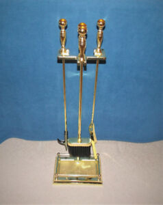 4 Pc. Solid Brass Fireplace Tool Set c/w Stand