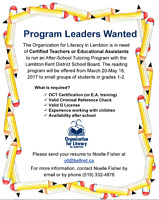 Program Leaders for After-School Tutoring with LKDSB