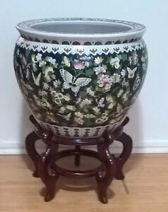 Vintage Chinese Black Fish Bowl Planter Butterflies Flowers