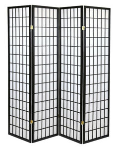 4 Panels Japanese Style Room Divider, Black