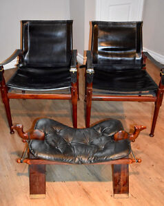 Unique Leather Studio Chairs (2) & Camel Stool