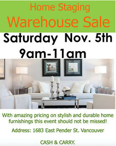FINAL BLOW OUT!! Home Staging Furniture Warehouse Sale (Nov 5th)