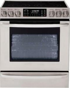 "LG LSE3092ST 30"" Free-Standing Electric Range Whit 5.4 cu.ft. Blue porcelain oven cavity Smooth touch Glass Control"