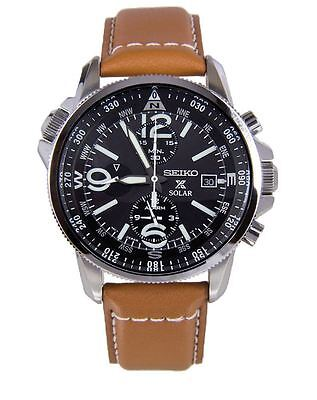 Seiko Men's SSC081 Black Dial Brown Leather Band Adventure-Solar Classic Casual