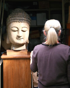 Large Solid Wood Buddha Head Sculpture and Base