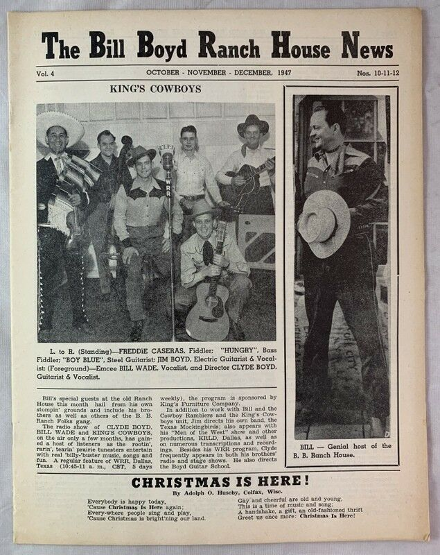 1947 Country Western Singer Bill Boyd Ranch House News King
