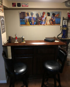 60 in  Wood Bar,  Game Room, Basement including 2 Bar Chairs