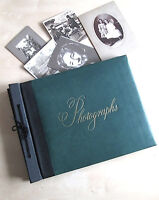 Vintage Photo Album Green Leather Covers