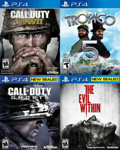 Selling/Trading PS4 COD WW2, COD Ghosts, Tropico 5, Evil Within