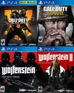 Selling/Trading PS4 Black Ops 4, COD WW2, Wolfenstein 2+ New