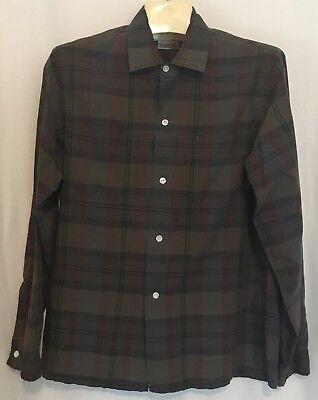 Vintage Brent Mens M 15 15 5 Gray Brown Plaid Shirt 100  Cotton Montgomery Ward