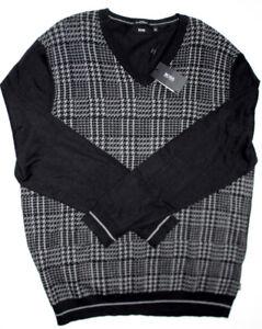 Hugo Boss Houndstooth V-neck Sweater Men`s XXL dogtooth NEW tag