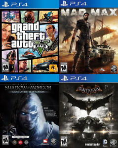 Selling/Trading PS4 GTA 5, Mad Max, Mordor GOTY, Batman Arkham