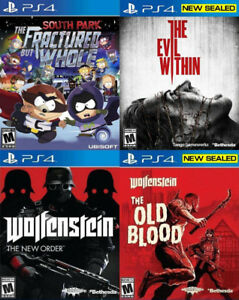 Selling/Trading PS4 South Park, Wolfenstein, Evil Within