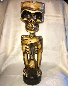 Indonesian Carved Skeleton Ashtray Stand