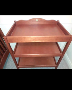 Wooden cot and change table