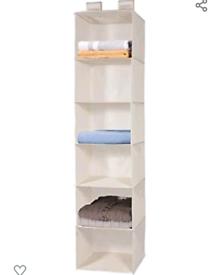 6-Shelf Fabric Hanging Shelves Organiser Collapsible Wardrobe Storage