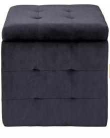 Black footstool velvet Ottoman new