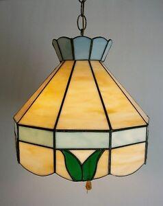 Lampe Suspendue Antique en Vitrail - Antique Stained Glass Lamp