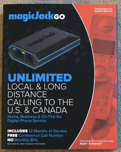MagicJack Go digital phone device - 12 months service - New