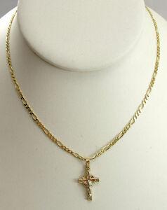 14k yellow gold figaro chain and pendant