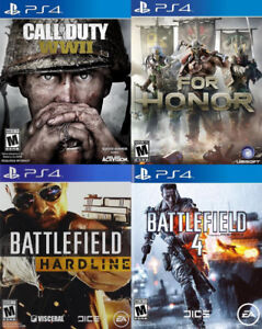 Selling/Trading PS4 COD WW2, For Honor, Battlefield 4 & Hardline