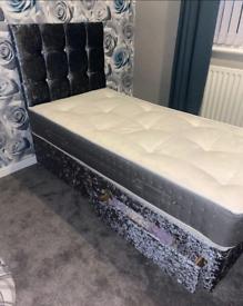 Crushed velvet single bed