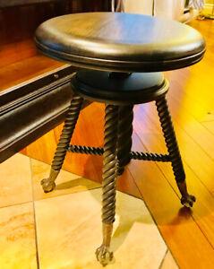 Banc de piano antique ajustable en bois restauré tabouret piano