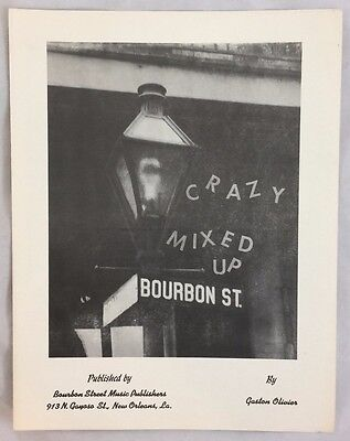 1969 Scarce New Orleans Jazz Sheet Music Crazy Mixed Up Gaston Olivier Bourbon (New Orleans Jazz Sheet Music)
