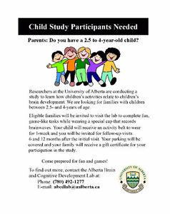 Child Study Participants Needed Edmonton Edmonton Area image 1