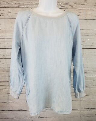 Ann Taylor Loft Long Sleeve Top Shirt Sz 14 Light Blue Casual Yy