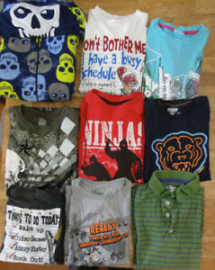Lot of boy tops/shirts, PJ - size 10-12