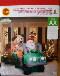 Santa and Elf ATV Inflatable