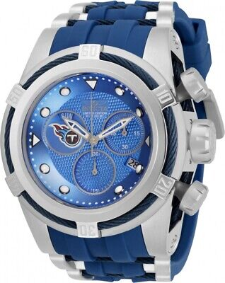 Invicta Mens 52mm Bolt Zeus NFL Tennessee Titans Blue Dial Rubber Strap Watch