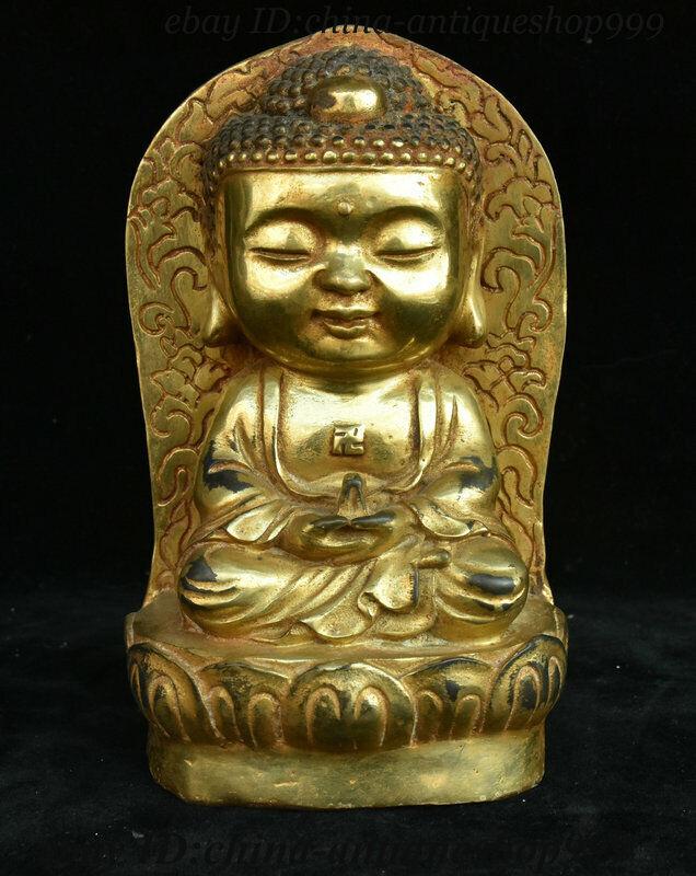"""6/"""" Old Tibetan Bronze Shakyamuni Amitabha Buddha Sakyamuni Tathagata Bowl Statue"""