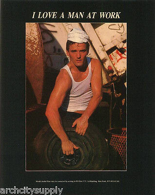 Mini Poster  Andre Fiset   I Love A Man At Work Sexy Male Model  Apr84  Rp58 O L
