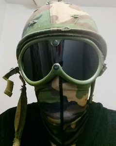 Army helmet with full face Gear.