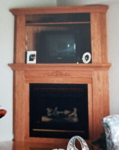 Oak Corner Fireplace Unit
