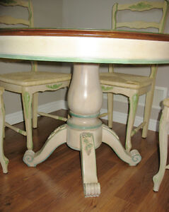 Solid wood French country table with 4 chairs