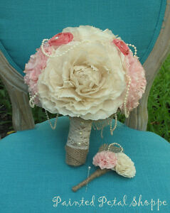 Coffee Filter Boutonniere/Rustic Wedding Flowers/Groom's Flower Belleville Belleville Area image 3