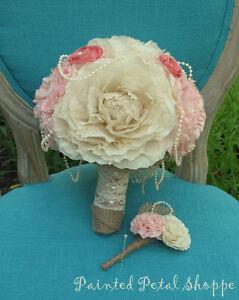 Coffee Filter Boutonniere/Rustic Wedding Flowers/Groom's Flower Belleville Belleville Area image 3